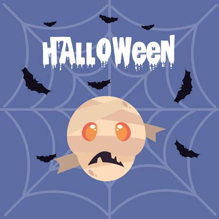 mummy head with label of halloween vector illustration design Stock Illustratie