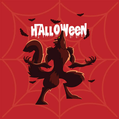 angry wolf howling with label of halloween vector illustration design
