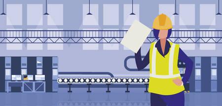 female worker in factory workplace vector illustration design Çizim