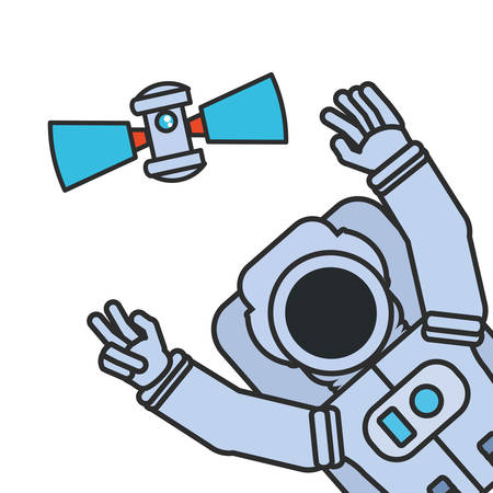astronaut suit with hands up and satellite isolated icon vector illustration design