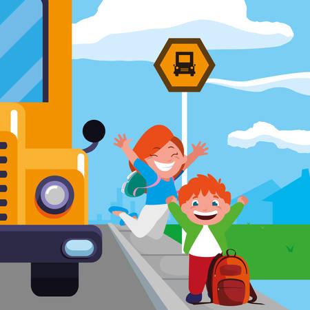 happy little school kids in the bus stop vector illustration design Çizim