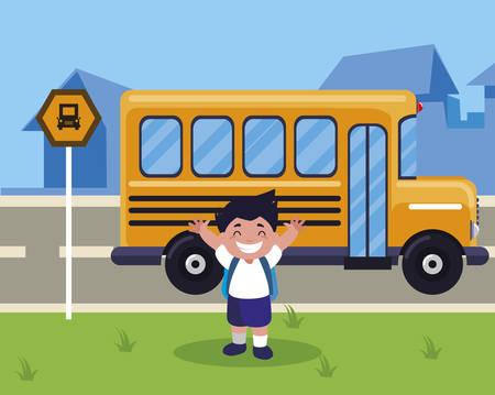 little schoolboy with schoolbag in the bus stop vector illustration design Çizim