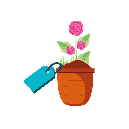 natural flower in pot plant with tag commercial vector illustration design