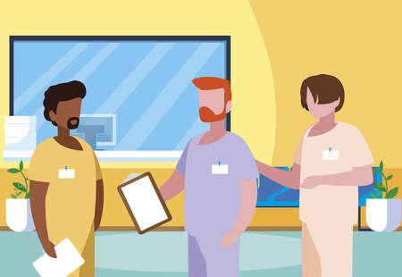 interracial male medicine workers in clinic reception vector illustration design Çizim