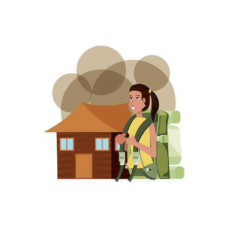 traveler woman with travel bag and log cabin vector illustration design Stock Illustratie