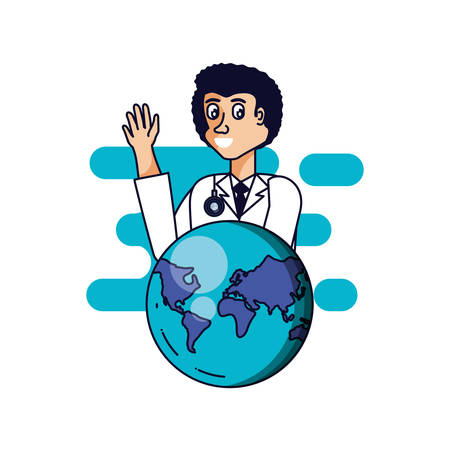 doctor professional with planet earth vector illustration design Stok Fotoğraf - 130583370