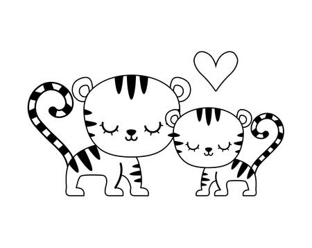 couple of cute tiger animal isolated icon vector illustration design