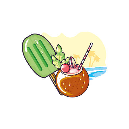 ice cream with stick in the beach and cocktail coconut vector illustration design