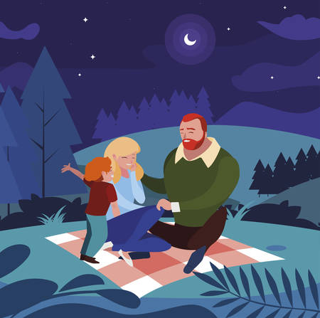 parents couple with son in the field picnic day vector illustration design Ilustracja