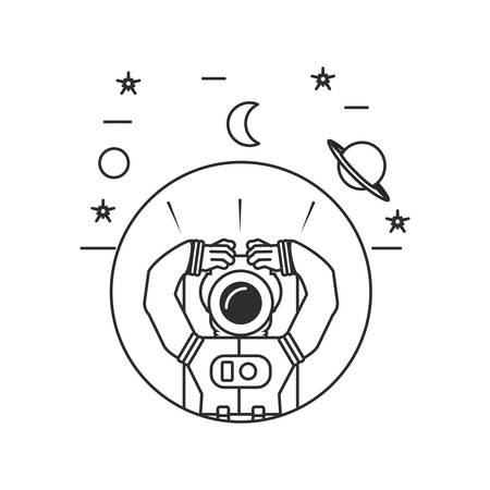 astronaut suit in frame circular with set icons vector illustration design Иллюстрация