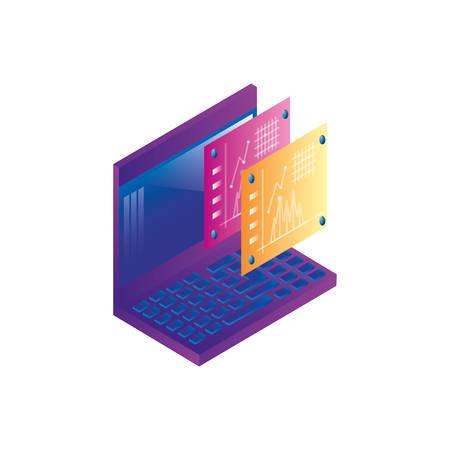 laptop computer with statistics webpage templates vector illustration design 向量圖像