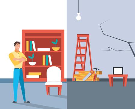 Hombre con antes y después de la casa en construcción, diseño de ilustraciones vectoriales