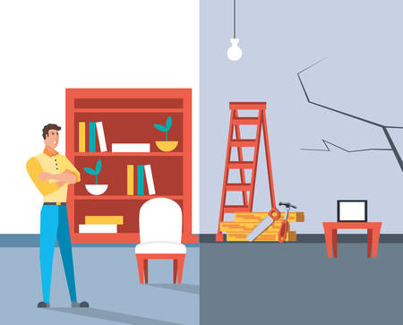 man with before and after home under construction vector illustration design