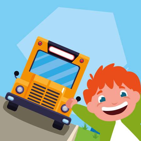 little schoolboy in the bus stop vector illustration design