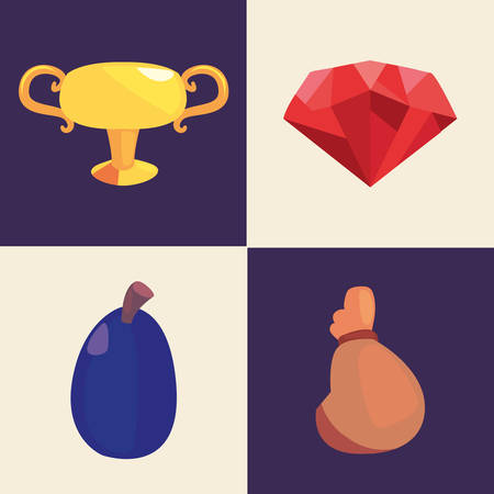 casino game bets set trophy diamond cherry money bag vector illustration