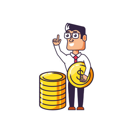 businessman elegant with pile coins vector illustration design