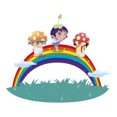 fungus elfs and fairy with rainbow vector illustration design Иллюстрация