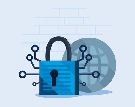 world data padlock cyber security vector illustration Illustration
