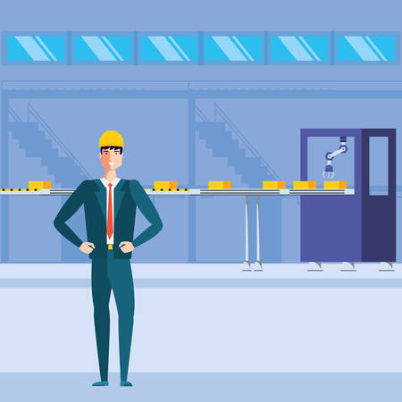 engineer in technified factory vector illustration design Illustration