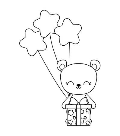 cute bear with gift box and balloons helium vector illustration design