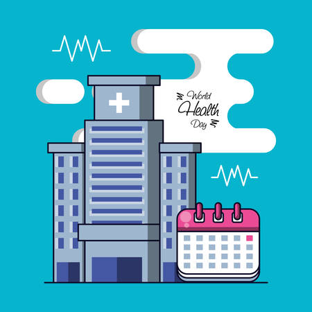 world health day with hospital structure and set icons vector illustration design Иллюстрация