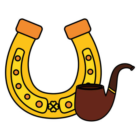 horseshoe lucky with wooden pipe vector illustration design