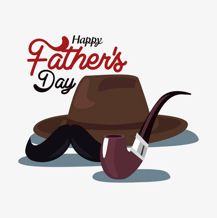 hat eyeglasses moustache happy fathers day vector illustration