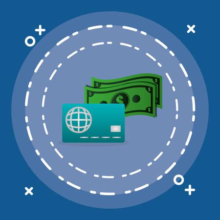 credit card with bills money vector illustration design