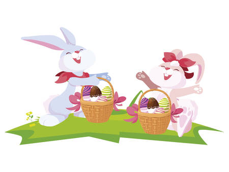 cute rabbits couple with eggs painted in basket vector illustration design Stock Illustratie