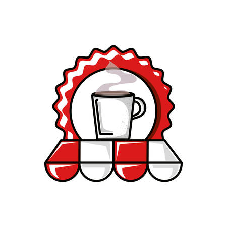 seal with coffee cup and parasol vector illustration design Векторная Иллюстрация