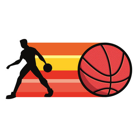 player basketball sport ball silhouette vector illustration Stock Illustratie