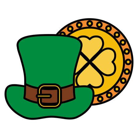 st patricks leprechaun hat with clover coin vector illustration design