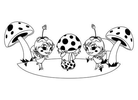 beautiful magic fairies with fungu elf in the garden vector illustration design Stock Illustratie