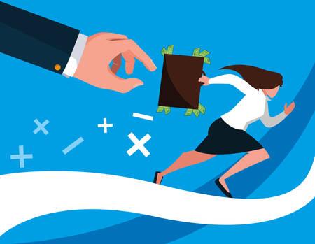 business woman running with portfolio vector illustration design Stock Illustratie