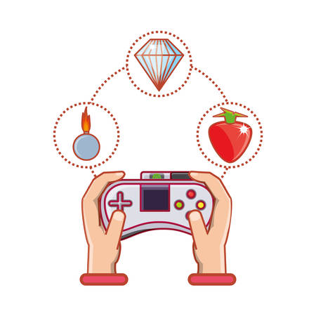 hands with control video game and set icons vector illustration design