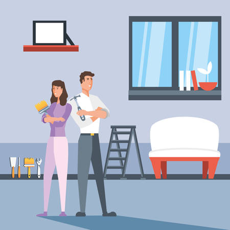 couple in interior of house and icons vector illustration design