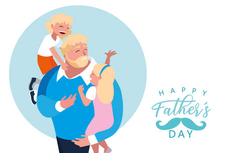 happy father day card with dad and children vector illustration design Иллюстрация