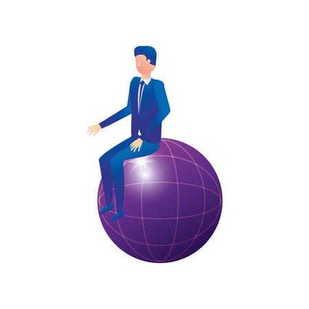 businessman worker seated in sphere browser vector illustration design Illustration