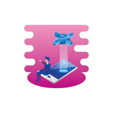 businessman with smartphone and technology system vector illustration design Illustration