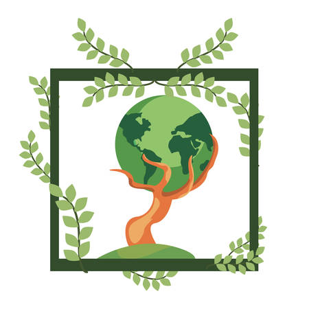 strong tree trunk with world frame leaves earth day vector illustration Stock Illustratie