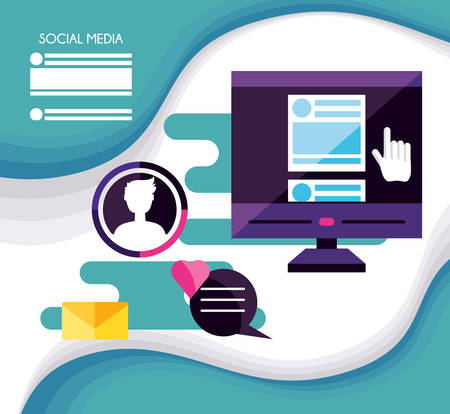 computer desktop with social media icons vector illustration design
