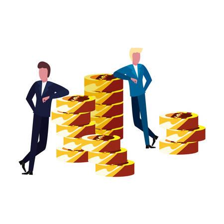 businessmen money stacked coins commerce vector illustration