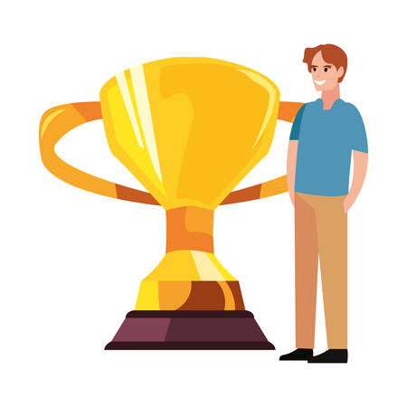 dad with award trophy happy fathers day vector illustration Иллюстрация