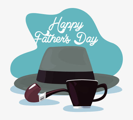 hat coffee cup tobacco pipe happy fathers day vector illustration