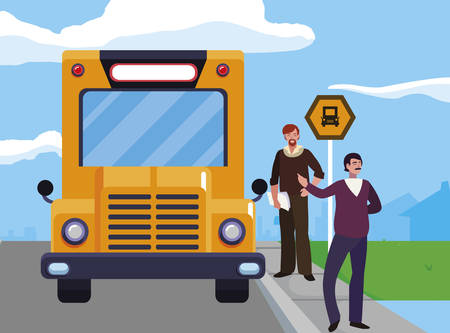 teachers couple in bus stop vector illustration design