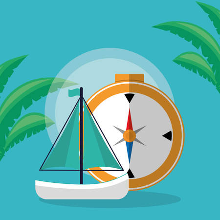 compass travel guide with sailboat vector illustration design Çizim