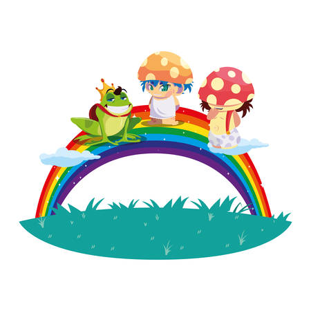 fungus elfs and toad prince with rainbow magic characters vector illustration design Иллюстрация