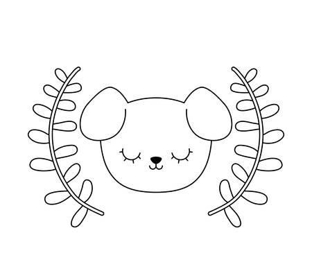head of cute dog with crown leafs vector illustration design