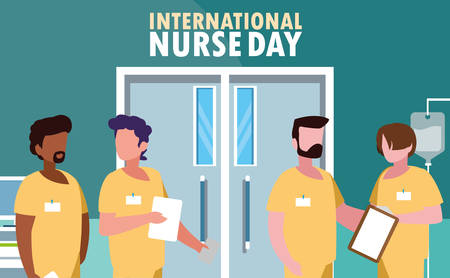 international nurse day with group of professionals vector illustration design Çizim