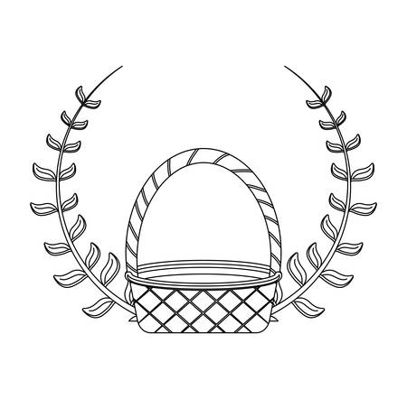 wicker basket with branches isolated icon vector illustration design Иллюстрация